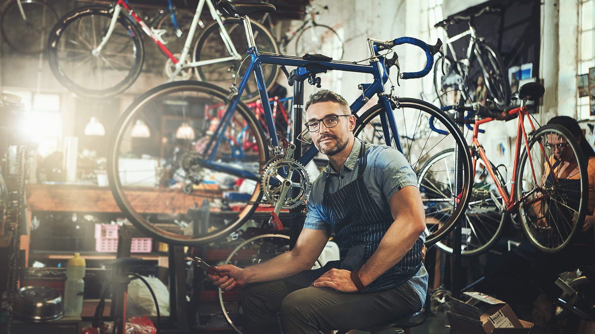 Bike shop worker