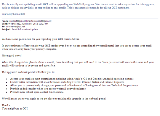 Phishing Spam Email Examples Gci Support