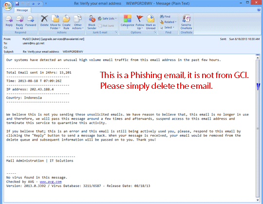 Other phishing spam email examples   GCI Support