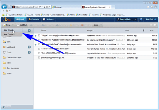 Email using WebMail Contacts | GCI Support
