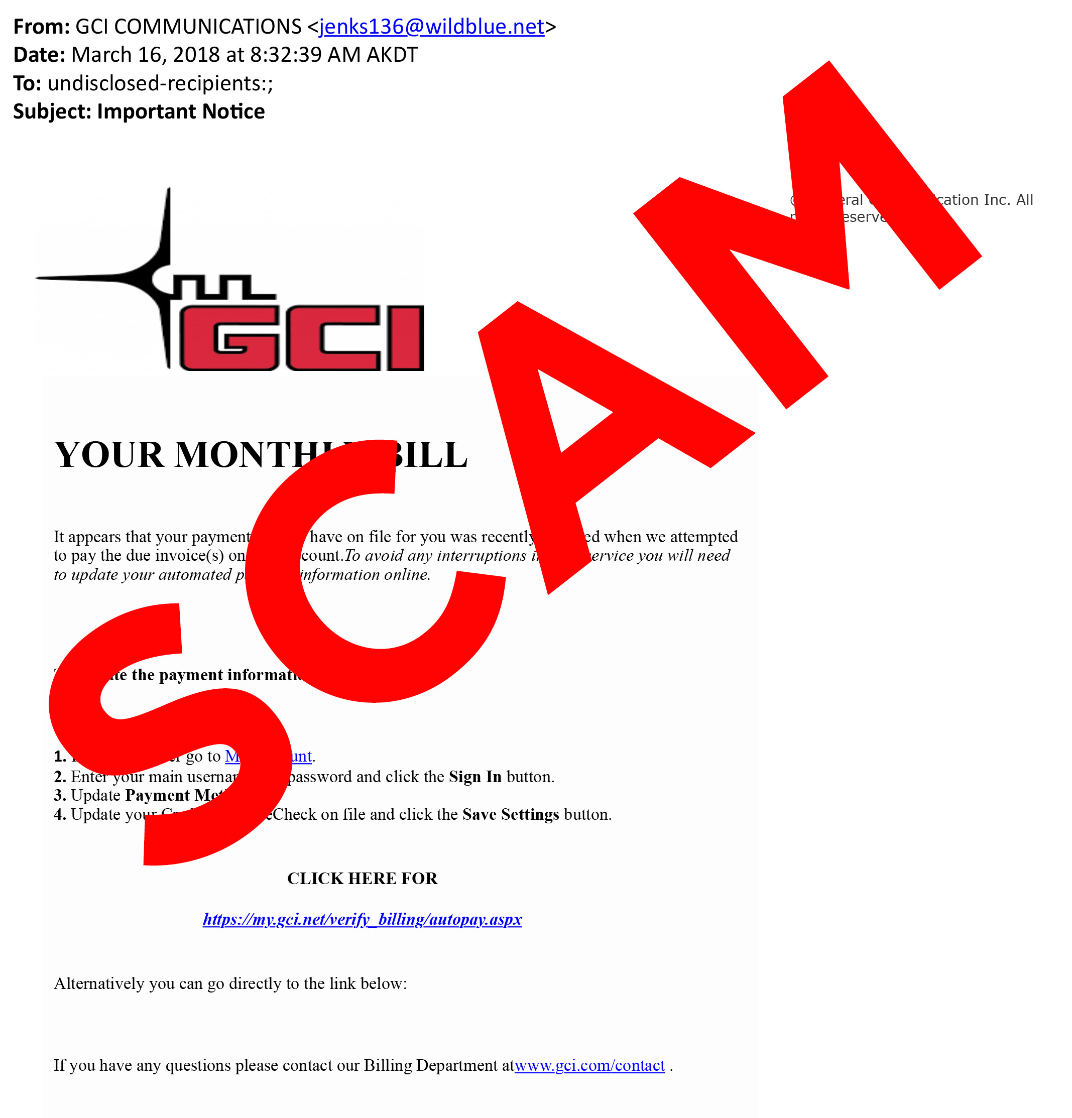 Email Scam Example