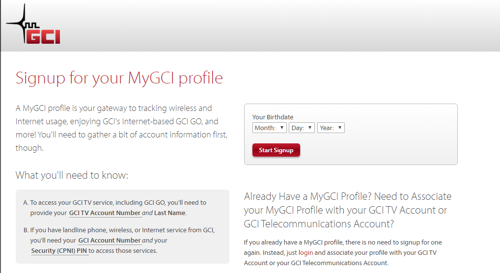 Enter your birth date to sign up for a MyGCI Profile