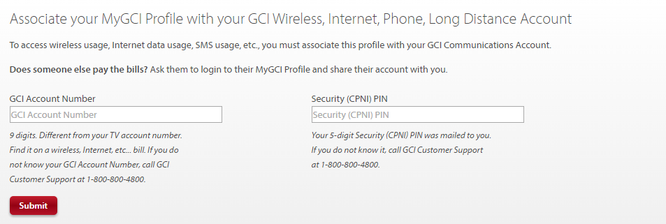 Associate your MyGCI Profile with your GCI Wireless, Internet, Phone, Long Distance account