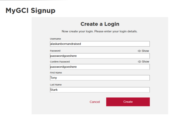 Create a New MyGCI Login