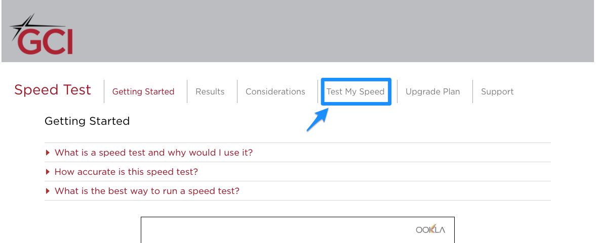 GCI Speed Test