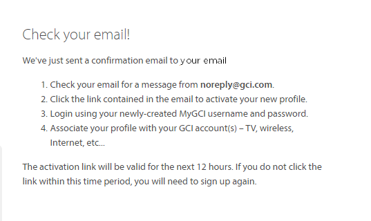 Check your email for an activation link for your MyGCI Profile