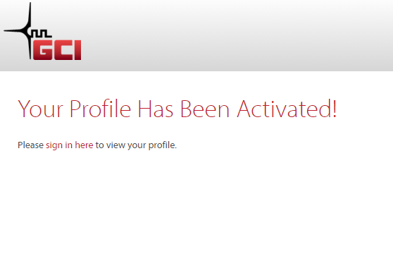 Your MyGCI Profile has been activated